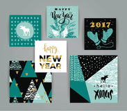 Set of artistic creative Merry Christmas and New Year cards. Hand Drawn textures and brush lettering. Design for poster, card, invitation, placard, brochure Royalty Free Stock Photos