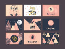 Set of artistic creative Merry Christmas and New Year Royalty Free Stock Photography