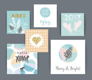 Set of artistic creative Merry Christmas and New Year Royalty Free Stock Photo