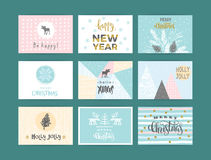 Set of artistic creative Merry Christmas and New Year Royalty Free Stock Images