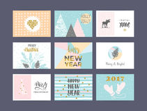 Set of artistic creative Merry Christmas and New Year Stock Photography