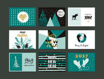 Set of artistic creative Merry Christmas and New Year Stock Photo
