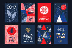 Set of artistic creative Merry Christmas and New Year cards. Stock Photo