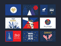 Set of artistic creative Merry Christmas and New Year cards. Royalty Free Stock Photos