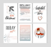 Set of artistic creative Merry Christmas and Nyew Year cyyards. Hand Drawn textuires and brush lettering. Design for Stock Images