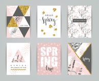 Set of artistic creative spring cards. Royalty Free Stock Photography