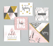 Set of artistic creative spring cards. Royalty Free Stock Photo