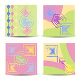 Set of artistic creative universal cards. Hand drawn texture. Royalty Free Stock Images