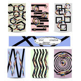 Set of artistic creative universal cards. Hand drawn texture. Design for poster, postcards, invitations, brochures, leaflets. Bright geometric pattern with Stock Photo