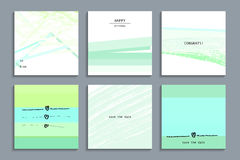 Set of artistic creative universal cards. Hand Drawn textures. Vector illustration royalty free illustration