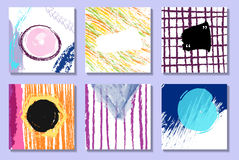 Set of artistic creative universal cards. Hand Drawn textures. Royalty Free Stock Photo