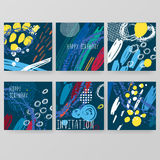 Set of artistic creative universal cards. Hand Drawn textures Stock Image
