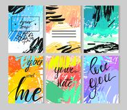 Set of artistic creative universal cards. Hand Drawn textures. Wedding, anniversary, birthday, Valentine s day, party. royalty free stock photography