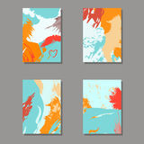 Set of artistic creative universal cards. Royalty Free Stock Photo