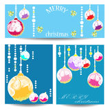Set of artistic creativity universal cards for Christmas and New Year. Festive balloons. Design for greeting cards, banners, brochures, posters, leaflets Stock Photography