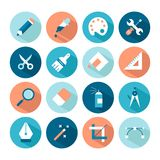 Set of artistic and design tools icons Stock Photos
