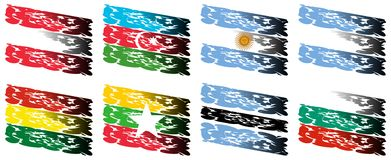 Set of artistic flags of the world. Image representing eight flags of the world in an artistic version. Flags represented are: Austria, Azerbaijan, Argentine Royalty Free Stock Images