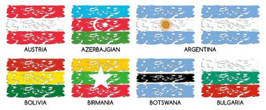Set of artistic flags of the world. Image representing eight flags of the world in an artistic version. Flags represented are: Austria, Azerbaijan, Argentine Royalty Free Stock Photography