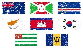 Set of Artistic flags of the world isolated. A set of flags of the world made in an artistic version. The flags represented are: Australia, Burundi, Cape Verde Royalty Free Stock Photography