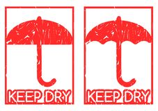 Set of artistic isolated keep dry labels Royalty Free Stock Images