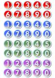 Set of artistic number buttons with frames in metallic silver design in four color variants - red, blue, green, purple, gradient e Royalty Free Stock Images