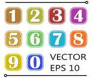 Set of artistic number label in different color on wavy background Stock Photography