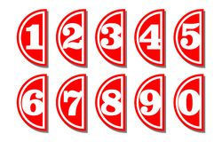 Set of artistic number in semicircular shape, white digits on red background, useful as infographic tag for presentation template Stock Photography