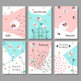 Set of artistic universal cards.  Low poly style orchids flowers. Set artistic universal cards. Design for Flyers, Placards, Posters, Invitations, Brochures Royalty Free Stock Photo