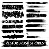 Set of 17 artistic vector brush strokes. Royalty Free Stock Photography