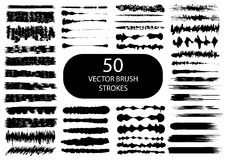 Set of 50 artistic vector brush strokes. Royalty Free Stock Photo