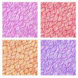 Set of artistic wavy hand drawn  seamless Stock Photography