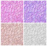 Set of artistic wavy hand drawn vector seamless Royalty Free Stock Photography