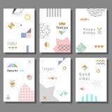 Set artystyczne kolorowe cech ogólnych karty Memphis styl Poślubiać, rocznica, urodziny Obraz Royalty Free