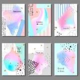 Set artystyczne kolorowe cech ogólnych karty Memphis styl Poślubiać, rocznica, urodziny Obrazy Stock