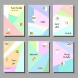 Set artystyczne kolorowe cech ogólnych karty Memphis styl Poślubiać, rocznica, urodziny Zdjęcia Royalty Free