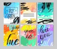 Set artystyczne kreatywnie cech ogólnych karty Ręki Rysować tekstury Poślubiający, rocznica, urodziny, walentynki s dzień, przyję royalty ilustracja