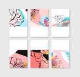 Set artystyczne kreatywnie cech ogólnych karty Ręki Rysować tekstury Poślubiający, rocznica, urodziny, walentynka dzień, przyjęci royalty ilustracja