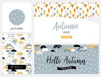 Set artystyczne kreatywnie jesieni karty Projekt dla plakata, karta, zaproszenie, plakat, broszurka, ulotka Wektorowi szablony Royalty Ilustracja