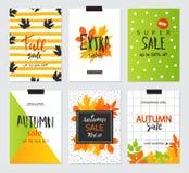 Set artystyczne kreatywnie jesieni sprzedaży karty Projekt dla sprzedaży i specjalnej oferty Wektorowi szablony dla plakata, kart Obraz Stock