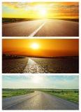 Set asfaltowe drogi w zmierzchu Fotografia Royalty Free
