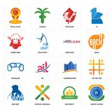 Set of ashok chakra, university, beatbox, constraction, chainlink, hooligan, super chef, minotaur, pizza place icons. Set Of 16 simple  icons such as ashok Stock Photo