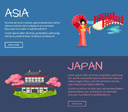 Set of Asia and Japan Flat Vector Web Banners Royalty Free Stock Images