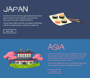 Set of Asia and Japan Flat Vector Web Banners. Set of Asia and Japan web banners. Sushi rolls on square plate and pagoda in cherry bloom flat vector Royalty Free Stock Image