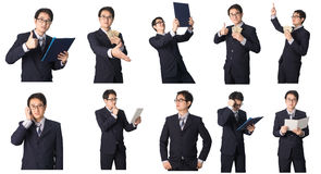 Set of Asian businessman in various poses isolated on white Royalty Free Stock Photography
