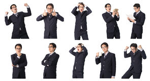 Set of Asian businessman in various poses isolated on white Royalty Free Stock Photos