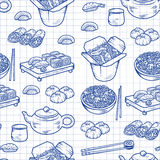 Set with Asian and Chinese cuisine icons Vector hand drawn elements Stock Images