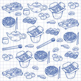 Set with Asian and Chinese cuisine icons Vector hand drawn elements Royalty Free Stock Image