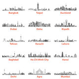 Set of asian city skylines in grey scales isolated on white background Royalty Free Stock Photography