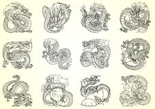 Set 12 Asian dragon black contour Royalty Free Stock Photo