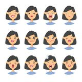 Set of asian emoji character. Cartoon style emotion icons. Isolated girl avatars with different facial expressions. Flat illustrat. Ion womens emotional faces Stock Photography